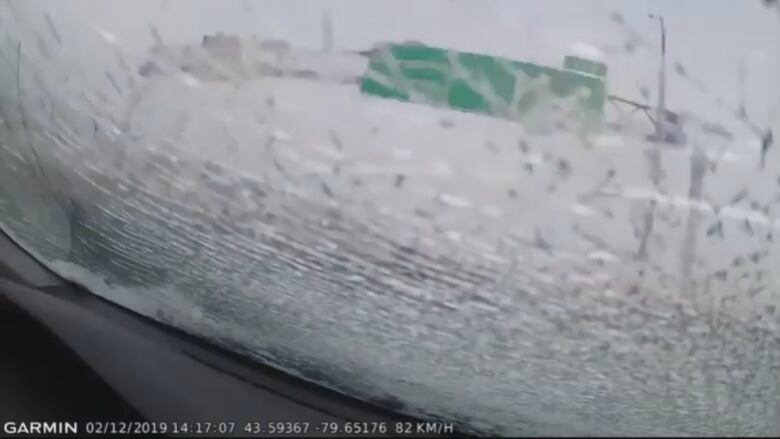 Slab of ice shatters GTA driver's window in dramatic dash cam video