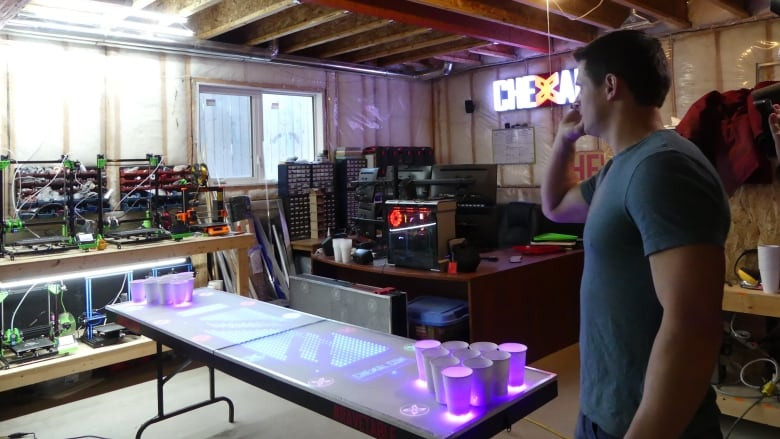 Sask Beer Pong Legend Unveils 2 New Interactive Tables Cbc News