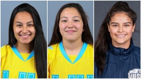Cross Lake girls Saige McKay, Carrigan Umpherville and Kennesha Miswaggon