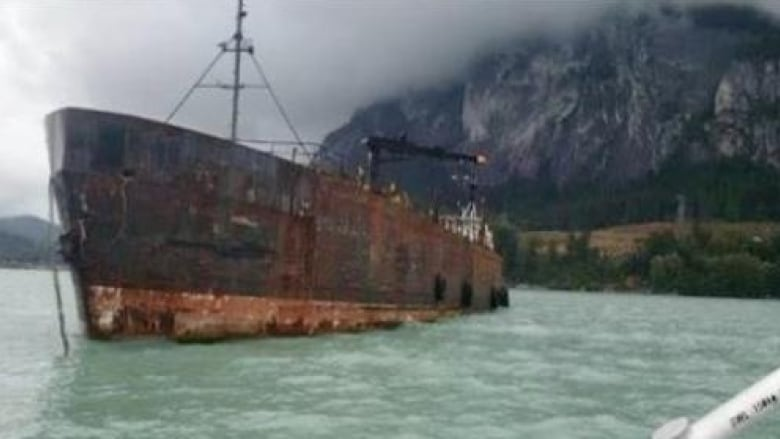 Rusty abandoned ship in Fraser River near Surrey, B.C., will be removed: DFO