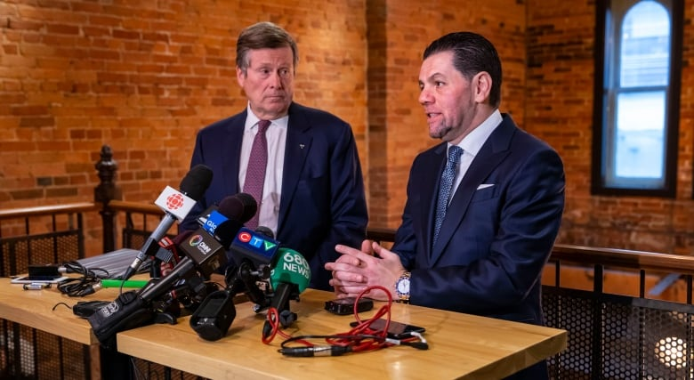mohamad fakih and toronto mayor john tory give press conference about the canada strong campaign following the iran plane crash - Remains of second Canadian PS752 crash victim returning to Canada