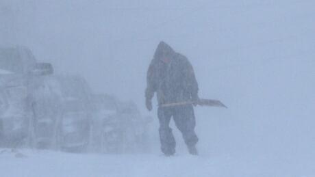 Lonely shoveller in St. John's blizzard