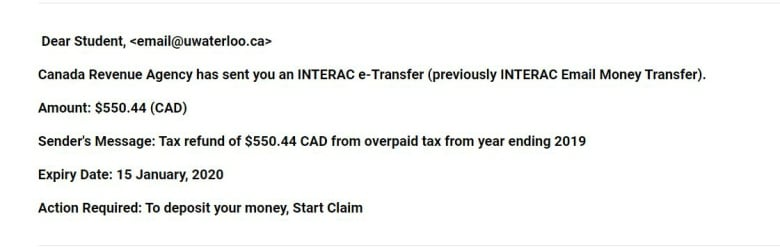 Interac E Transfer Tax Refund Scam Circulating Among Students Cbc News