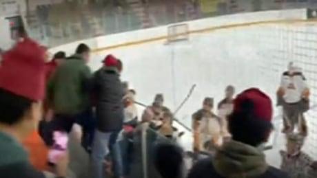 Hockey coach swings at heckling fan