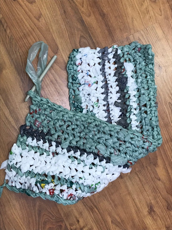 crocheted plastic bag