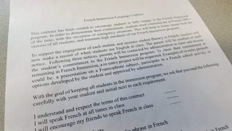 French immersion contract