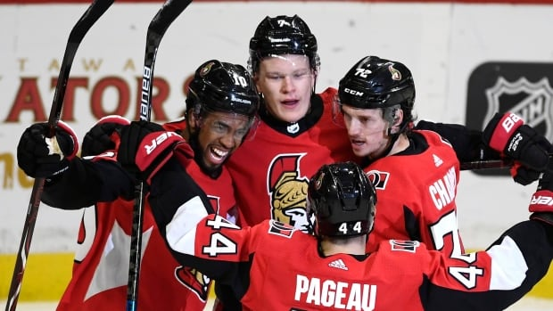 Brady Tkachuk's 3 point night helps Sens shoot down Stars in OT   CBC Sports