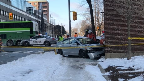 A man and a woman were seriously injured after being struck by a car near Yonge and Sheppard. The car then struck a building