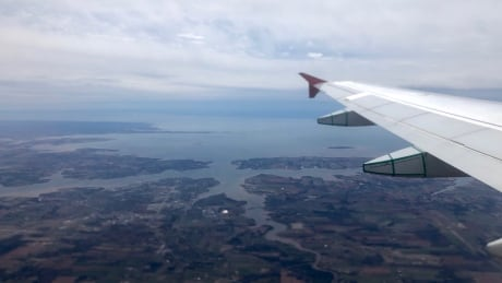 Flight from PEI. out the window looking down on Charlottetown area.