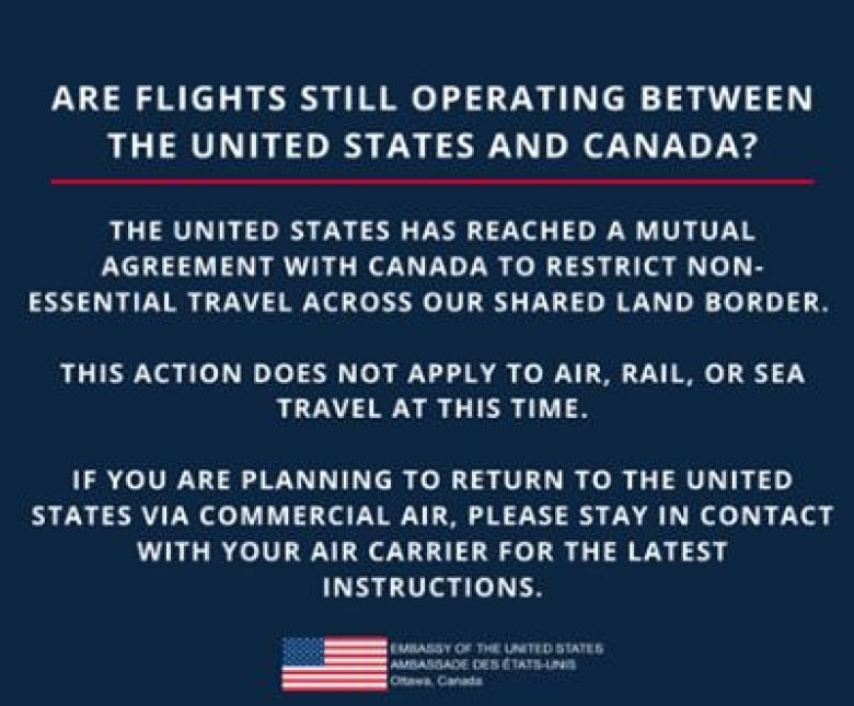 This notice from the U.S. Embassy in Canada was posted on Facebook over the weekend.(Facebook)