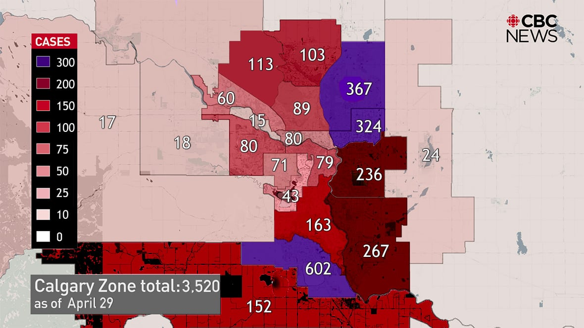 This Map Shows Which Areas Of Calgary Have Been Hit Hardest By Covid 19 As Of April 29 Cbc News