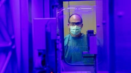Medical laboratory technologist Fred Li monitors