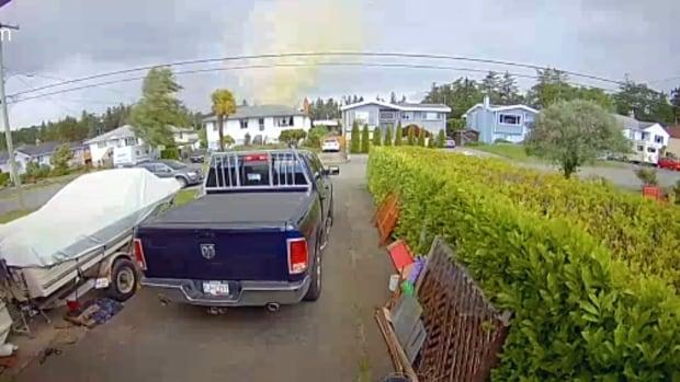 Tornado flings trampoline through neighbourhood on Vancouver Island