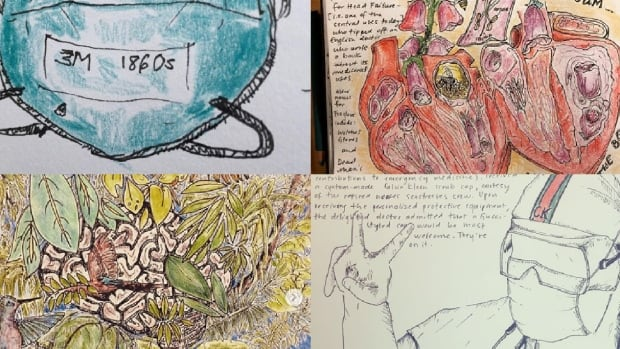 ER nurse captures COVID-19 experience in collection of drawings posted on social media | CBC News
