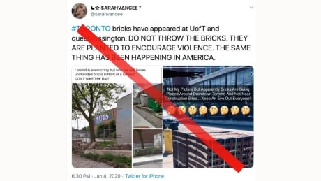 Online rumours claiming bricks left out for Toronto protests are misleading