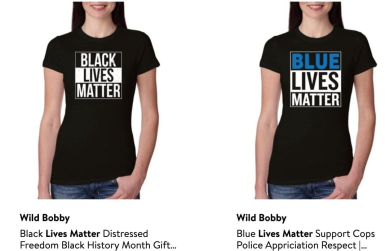 Walmart pulls 'All Lives Matter' shirts following protests, but Amazon is still selling them