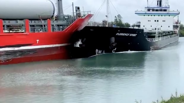 Officials investigating after 'rare' collision between ships in Welland Canal | CBC News