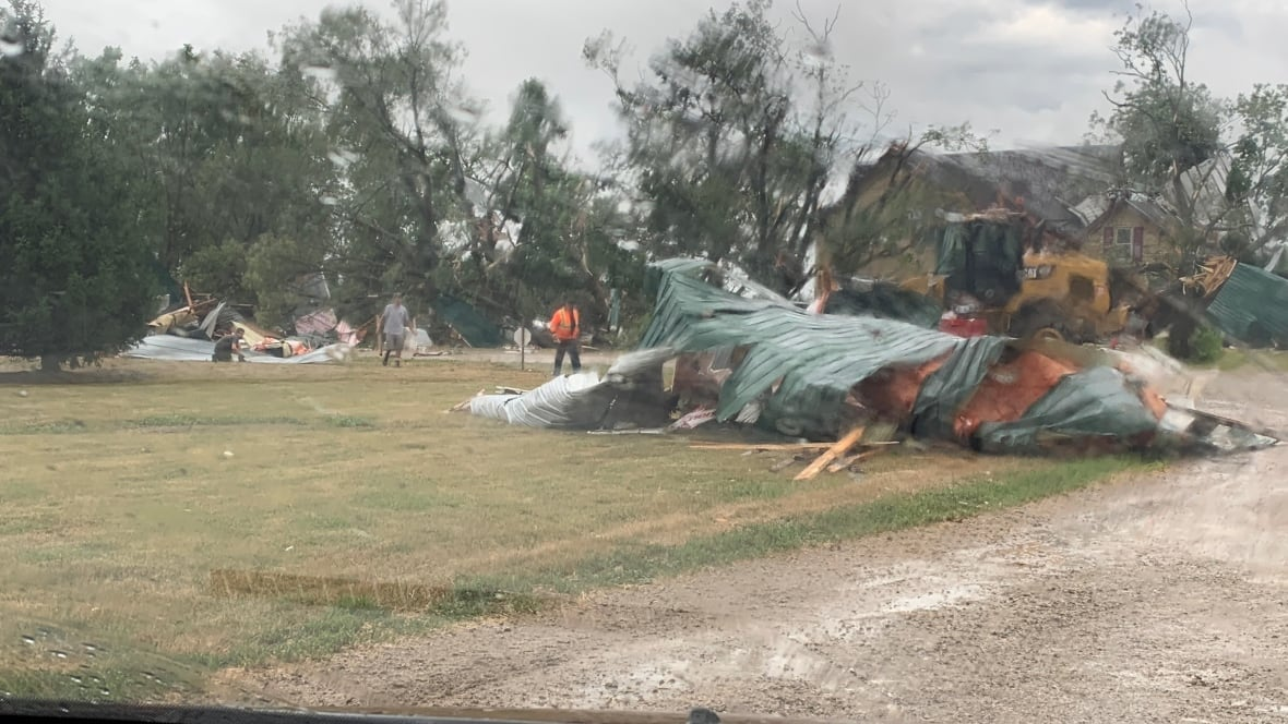 Damage done at Van Engelen Dairy Farms in Lambton Shores on Sunday.