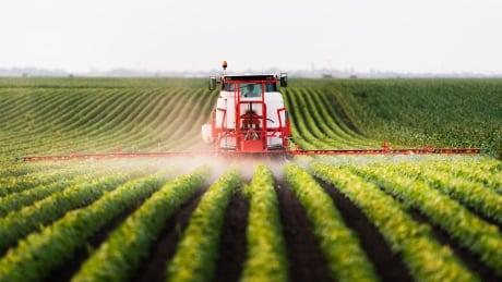 Farm field spraying herbicides