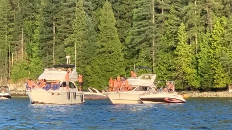 Party boats near Jug Island July 26 in Burrard Inlet