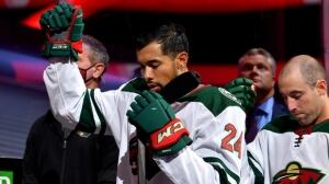 Wild defenceman Matt Dumba raises fist for Canadian, American anthems