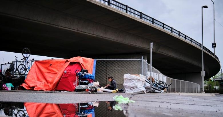 A homeless camp under an overpass in Calgary