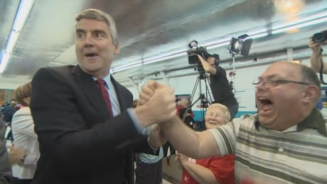 Premier Stephen McNeil with a supporter after winning the Nova Scotia general election in 2017