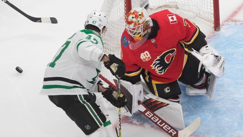 Talbot Blanks Stars As Flames Grab Series Lead Cbc Sports