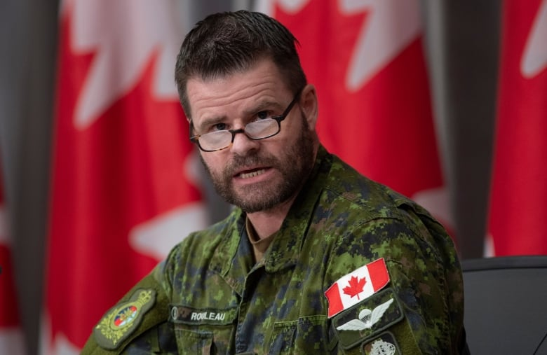 Canadian Joint Operations Commander Lt.-Gen. Mike Rouleau, considered to be a potential successor to Vance, speaks during a news conference in May. (Adrian Wyld/The Canadian Press)