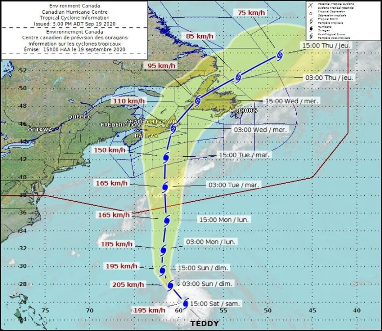 Latest forecast has hurricane Teddy on a course for Atlantic Canada