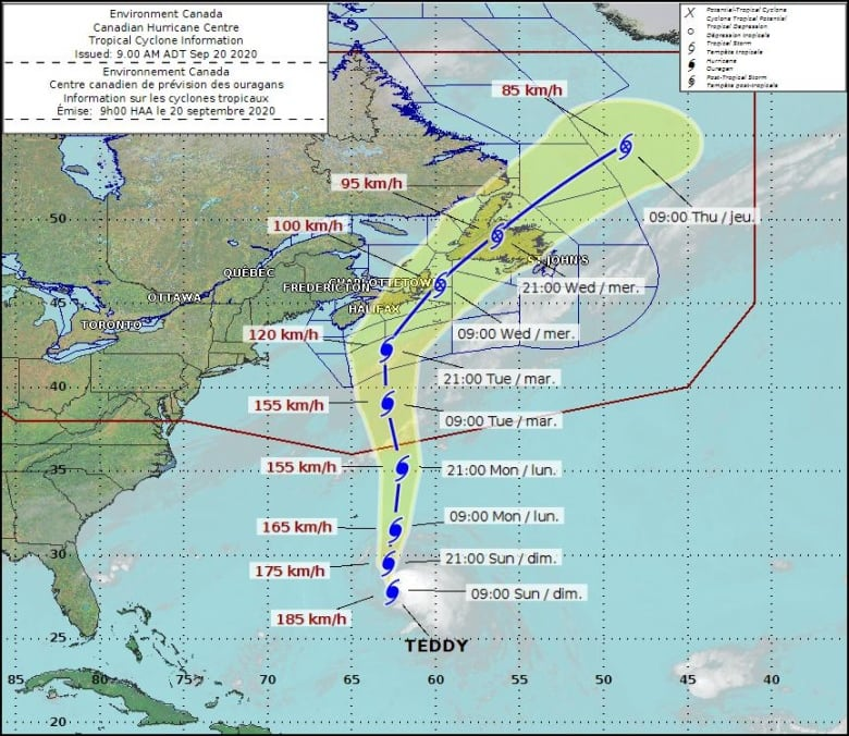 Hurricane Teddy Projected To Bring Nasty Weather To Parts Of N L Tuesday Cbc News
