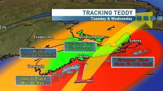 Coastal Nova Scotia under tropical-storm warning as Teddy moves closer