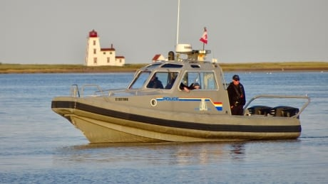 An RCMP boat that is part of the search looking for a missing teen near Northport, PEI. Taken Sept. 21, 2020