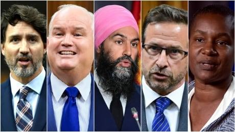 Trudeau, O'Toole, Singh, Blanchet, Paul, federal leaders composite 2