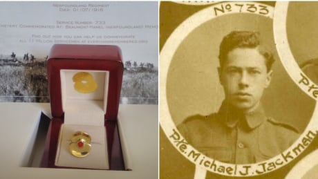Commemorative pin and photo of Pte. Michael Jackman