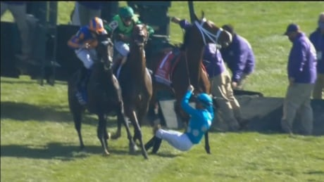 2019 Canadian Horse of the Year Starship Jubilee throws jockey at start of race