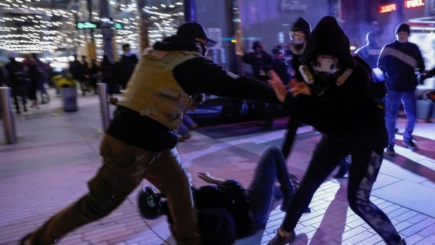 Violence, arrests overnight after tense pro-Trump rally in Washington | CBC News