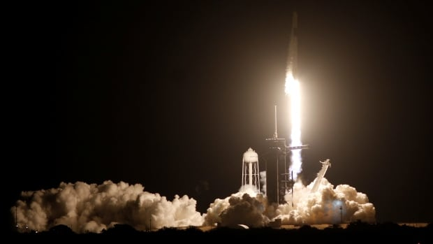 SpaceX launches 4 astronauts to International Space Station | CBC News