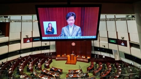 Hong Kong leader says restoring 'political system from chaos' is priority