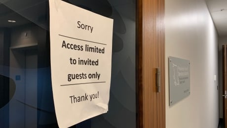 A sign on the 14th floor of PHSA's Vancouver headquarters restricts access during renovations.