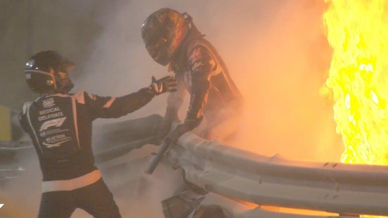 Formula One: Romain Grosjean suffers 'minor burns' in horrific first-lap crash in Bahrain