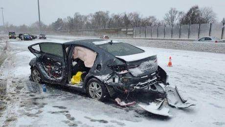 Woman dead in multi-vehicle crash on Highway 7/8 in Kitchener
