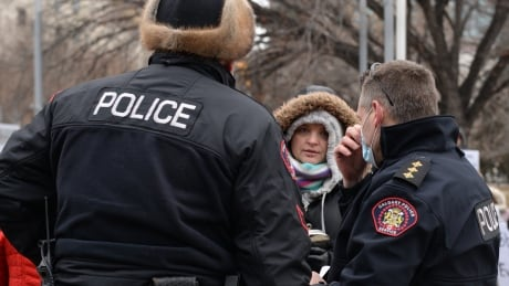 Calgary police anti-mask protest