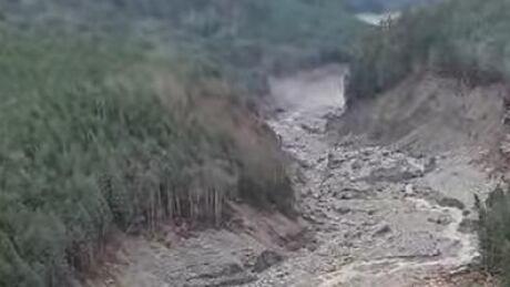 Elliot Creek bed after landslide north of Campbell river