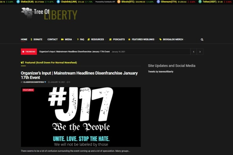 Anti-government extremists promote armed protests in U.S. using website hosted in Montreal