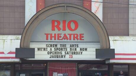 Rio Theatre Vancouver marquee sports bar