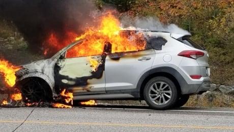 Hyundai Tuscon on fire