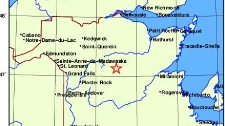 Earthquake south of Mount Carleton Provincial Park