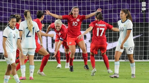 Canada edges Argentina on last-gasp effort for 1st victory at SheBelieves Cup   CBC Sports