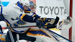 Binnington's meltdown after being pulled sparks Blues' rally against Sharks